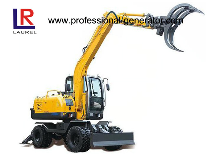 50kw 45kn Grapple Wheel Excavator with 21Mpa Working Pressure , 1860mm Arm Length